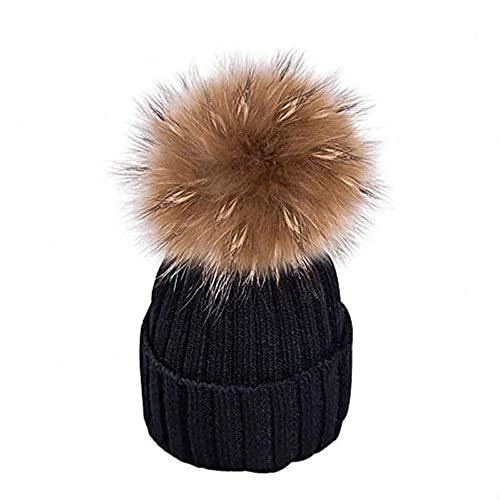MMTX Women Winter Rib Knit Hats Hedging Beanie Cap Warm Outdoor Fashion Hat  with Chunky Faux 51418dce742a