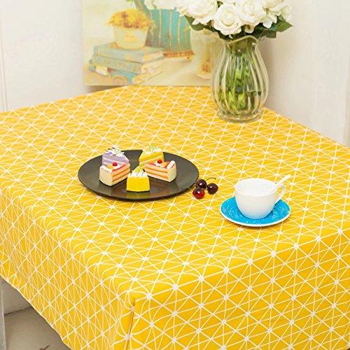 Creek Ywh Nordic Simple tafelkleed geel met witte en witte stippen van grenen servies van katoen en linnen, rood tafelkleed voor slaapkamer, salontafel, 140 x 140 cm