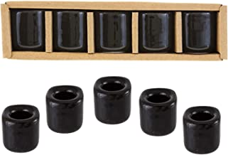 Kheops Fine 6 pcs Ceramic Chime Ritual Spell Candle Holders - Black