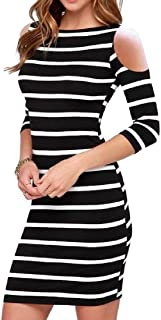 VITryst Women Stripes Printed Fashion Short-sleeve Evening Party Dress