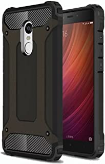 Redmi Note 4 Case, Ranyi [Hybrid Protection] [Metal Texture] [Shock-Proof] High Impact Premium Dual Layer Rugged Armor Defender Case Cover for Xiaomi Redmi Note 4 (5.5 inch), Black