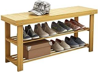 JJZXT 3-Tier Bamboo Banc Rack de Chaussure Chaussure Rangement Plateau, Support de Charge 220 lbs