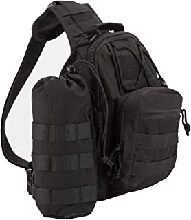 denlix Tactical Sling Bag Chest Pack EDC Molle Hiking Daypack with Water Pouch for Men Women Unisex