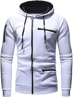 IZHH Fashion Hoodie Zip Mens Pullover Sweatshirt Solid Sport Jacket Coat Outwear