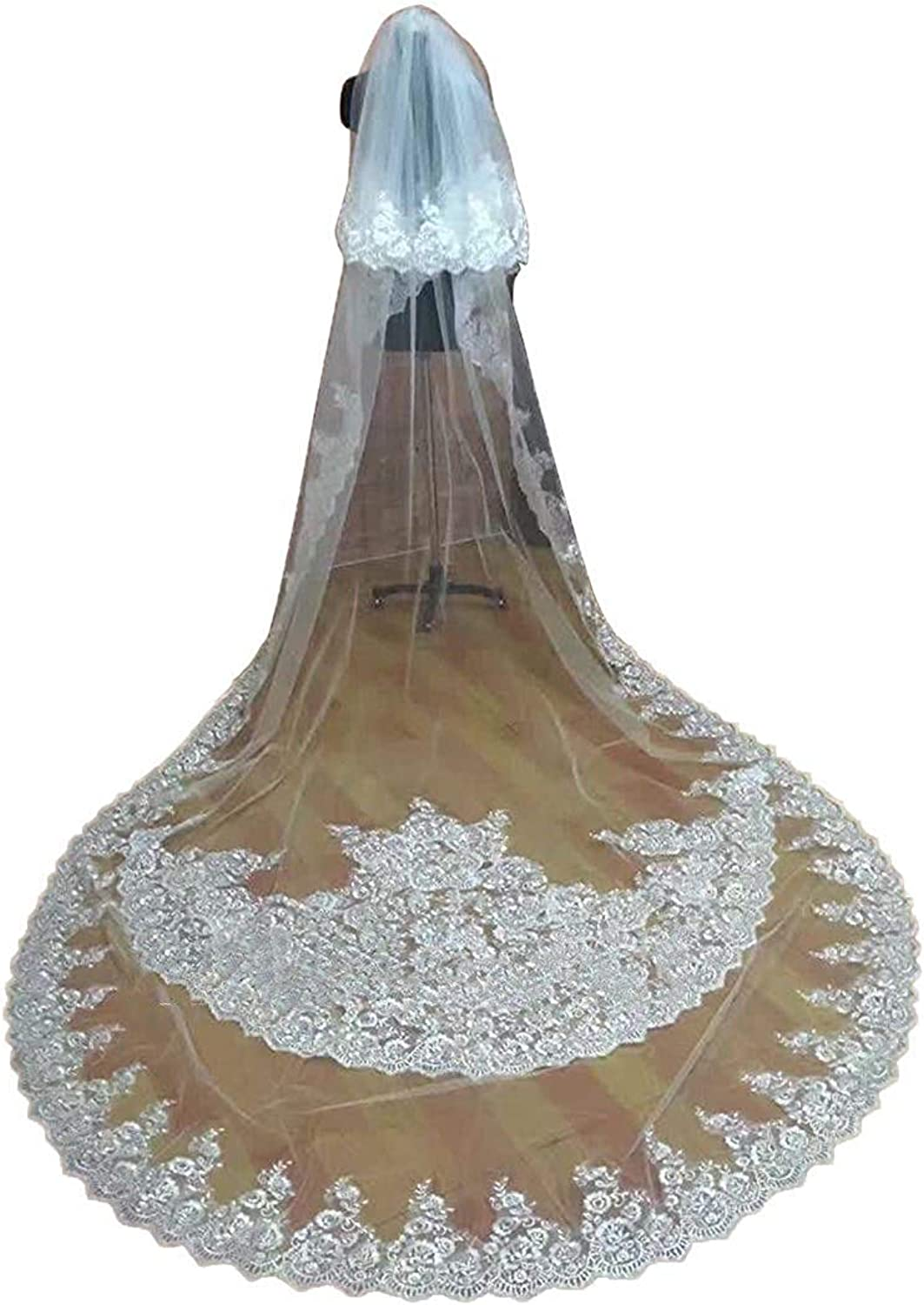 EllieHouse Women's 2 Tier Long Sequin Lace Wedding Bridal Veil With Comb S95