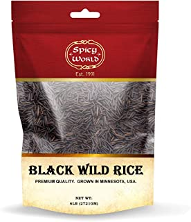 Minnesota Grown Black Wild Rice 6 Pound Bag - Premium Quality, All Natural - by Spicy World