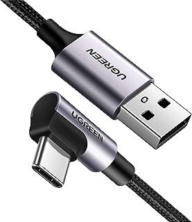 UGREEN USB Type C Kabel 90 Graden Ondersteunt Quick Charge 4.0/ 3.0/ 2.0 Snel Opladen Nylon Kabel Compatibel met Samsung S...