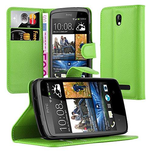 Cadorabo Hülle für HTC Desire 500 - Hülle in MINZ GRÜN – Handyhülle mit Kartenfach und Standfunktion - Case Cover Schutzhülle Etui Tasche Book Klapp Style