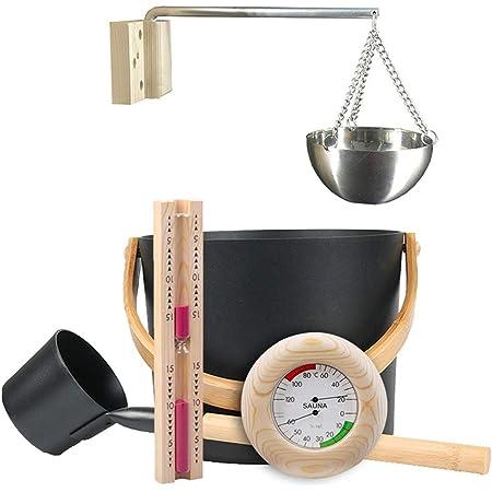 Breaden Kit Sauna - Ensemble d'accessoires de Sauna Ensemble de Seau de Sauna 7L avec cuillère à Long Manche Thermomètre/hygromètre de sablier Kit de Tasse d'huile d'aromathérapie pour Sauna