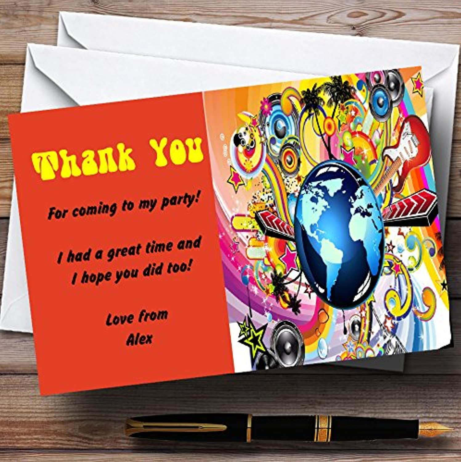 orange Retro Music Funky Personalised Party Thank You Cards