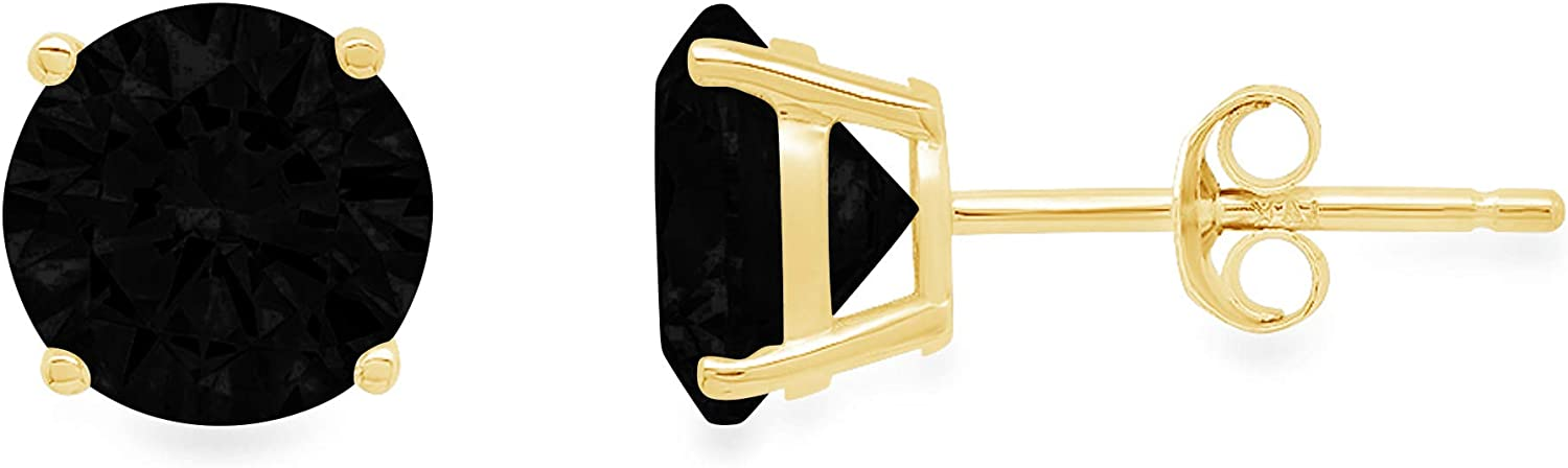 2.0 ct Brilliant Round Cut Solitaire Flawless Genuine Natural Black Onyx Gemstone VVS1 Ideal Pair of Designer Stud Earrings Solid 14k Yellow Gold Push Back