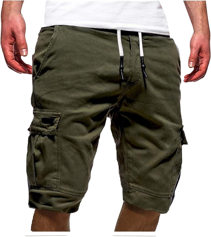 XUETON Men's Outdoors Cargo Shorts Casual Lightweight Multi-Pocket Elastic Waisted Drawstring Shorts Pants