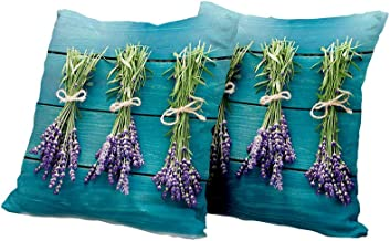 All of better Lumbar Cushion Cover Lavender,Fresh Lavender Bouquets on Blue Wooden Planks Rustic Relaxing Spa,Sky Blue Lavender Green Sofa Pillow Covers 14x14 INCH 2pcs