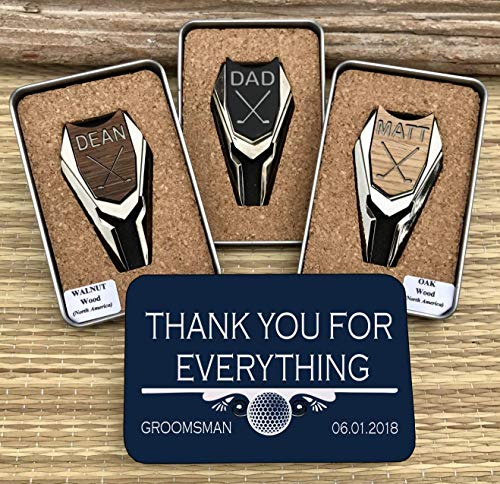 WOODULIKE Personalized Golf Ball Marker & Divot Tools for Groomsmen Gifts, Best Man Gift, Groomsman Gifts, Father of the Bride, Father of the Groom Gifts, Wedding Party Gifts, Bachelor Party