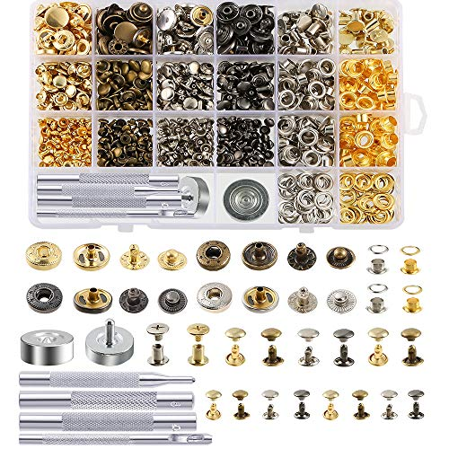 Caydo 400 Set 4 Style Snap Fasteners Kit Including Leather Rivets,...