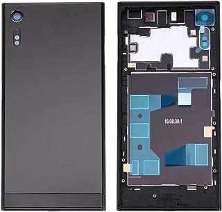قطع غيار QFH غطاء بطارية خلفي + غطاء بطارية خلفي + إطار وسط لهاتف Sony Xperia XZ (أسود) الغطاء الخلفي للشبكات الموسيقية (ا...