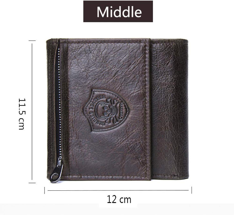 KHGUDS Echtes Leder männlich Kurze Brieftasche Casual männer geldbörse für münzfach mit reißverschluss Tasche kartenhalter Trifold Wallet Geschenk für Vater B07QQSVC1C  Elegante Form