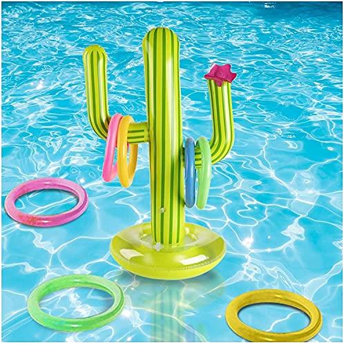Schwimmreifen Aufblasbarer Kaktus Ring Toss Spiel Kinder Erwachsene - 8 * 10 cm Aufblasbare Pool Spielzeug Floating Swimmingpool Spiel Spielzeug mit 4 Ringen, für Swimmingpool, Sommerparty, Strandpart