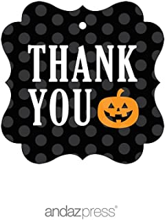 Andaz Press Classic Black and Orange Halloween Party Collection, Thank You Fancy Frame Gift Tags, 24-Pack