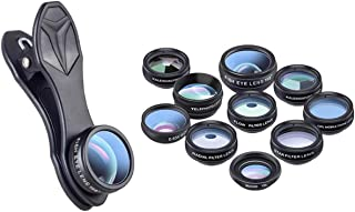 10 in 1 Phone Camera Lens Kit - Wide Angle Lens & Macro Lens+Fisheye Lens/Kaleidoscope/CPL, Compatible with Ios And Most o...