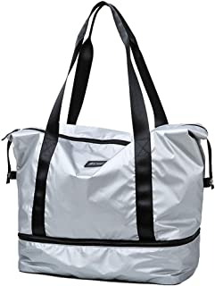 Sports Bag With Shoes Compartment,Water Resistant Holdall For Travel Shopping Luggage Gym Sports (Color : Silver)