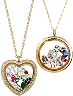 Eve's Addiction Floating Charm Necklace Gold Plated Locket Charms - Select Your Charm