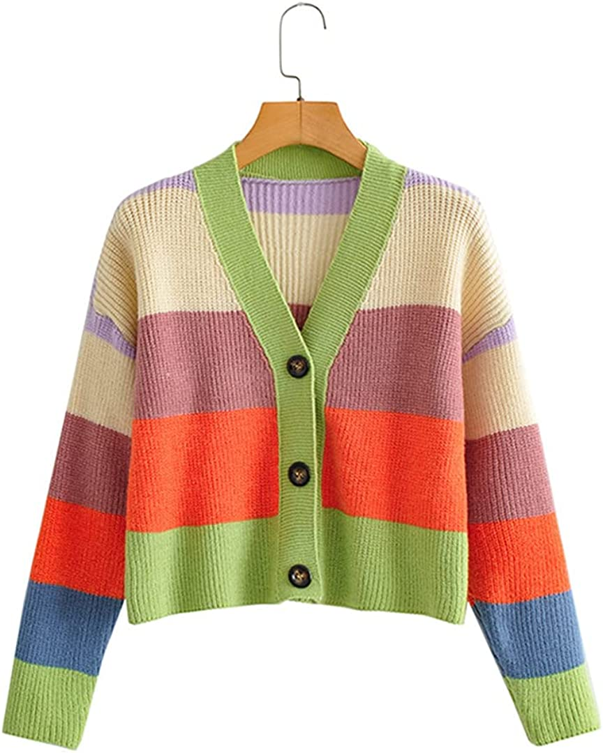 Rainbow Stripes V Ranking TOP14 Neck Knitted Discount mail order Cardigan Women Loose Long Sleeve
