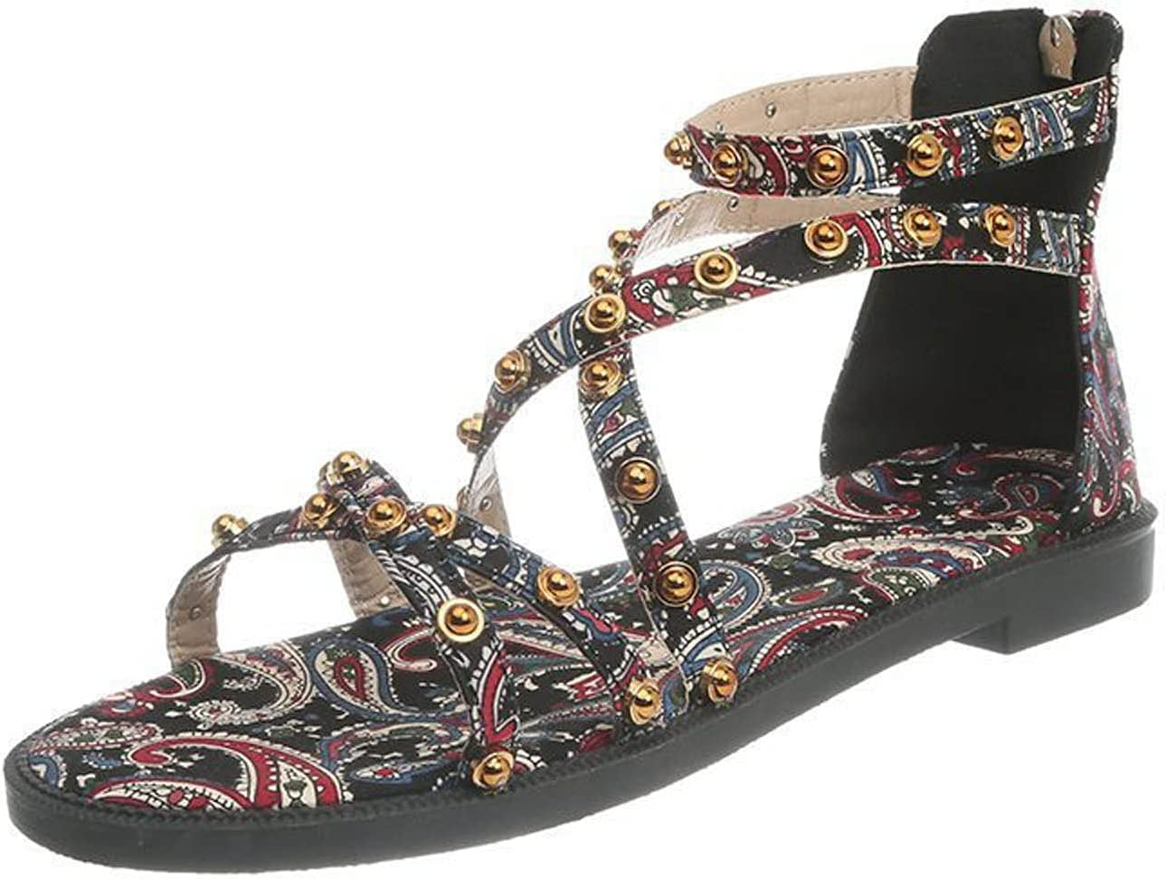 Women's Beaded Cross Strap Wedges Fla Heels Slippers Sandals Low Kansas City Popular products Mall