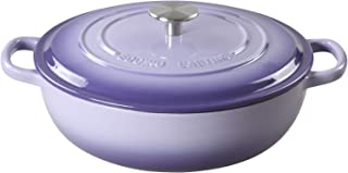 EDGING CASTING Enameled Cast Iron Shallow Casserole Braiser with Dual Handle, 5.9-QT, Purple