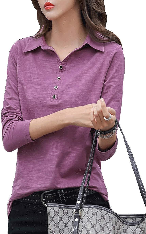Haellun Women's Casual Cotton Long Sleeve Tunic Button Polo Shirt Blouse Tops