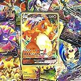 VMAX, tarjetas GX, tarjetas coleccionables de Pokemon, juego de tarjetas de combate interactivas, regalos de Navidad y regalos de cumpleaños para niños (42 VMAX-tarjeta + 58 V).