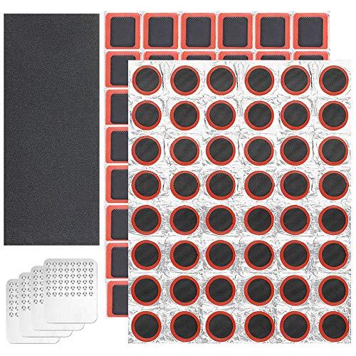Johiux 96 Stücke Patch Punktion Reparatur Kit, Fahrrad Flickzeug Leimlose Patches Reifen Reparaturset mit Metall Raspel, für Mountainbike/Rennradschlauch (Kein Kleber). (Style 2)