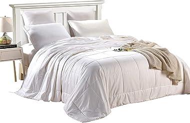 Since Silk Silk Duvet/Quilt, Keep Warm for Winter/Fall Season, 100% Mulberry Silk Filling, Breathable Lightweight (White, Que