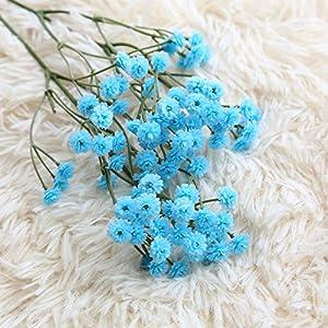 Silk Flower Arrangements XIDA 90 Heads 65cm Artificial Flowers False Baby's Breath Gypsophila Wedding Decoration Birthday DIY Photo Props Flower Heads Branch (Blue)