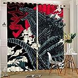 STTYE Total Blackout Cortinas para ventana Godzilla extra largas cortinas con ojales superiores para dormitorio 75 x 166 cm x 2 piezas