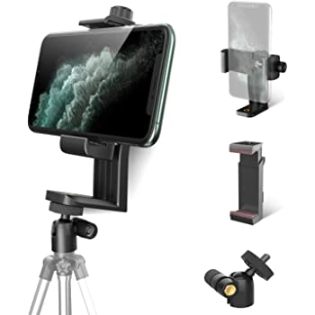 Phone Tripod Adapter Mount with 360° Swivel Ball Head + Phone Clamp, KDD Adjustable Cell Phone Tripod Mount for iPhone 11 Pro Max X Xr Xs 7S 8 Plus, Samsung S20 S10 S9 Note 10 9 8, Other Smartphones