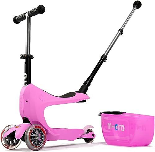 Micro Kinderroller Mini2Go Deluxe Kickboard mit Sitz und Schubfach in Rosa
