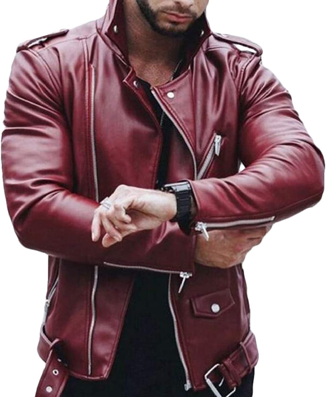 9eaa7cd08b SELX Men Plus Size Slim Fit Fit Fit Solid Oblique Zipper Stand Collar Pu Leather  Moto Coat 3e978b