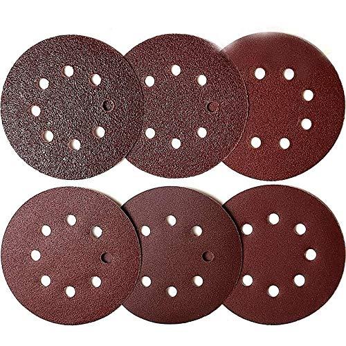 GIPOTIL 60 discos de lijado de 5 pulgadas y 8 orificios, respaldo de papel de lija de gancho y bucle, 10 de grano 40/60/80/120/180/240, papel de lija de ajuste óptimo