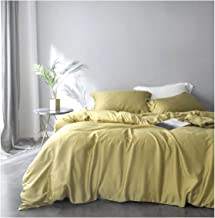 Solid Color Egyptian Cotton Duvet Cover Luxury Bedding Set High Thread Count Long Staple Sateen Weave Silky Soft Breathable Pima Quality Bed Linen (King, Chartreuse Mist)