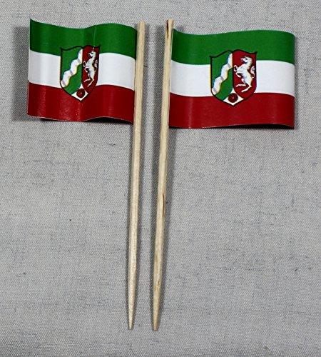 Buddel-Bini Party-Picker Flagge Nordrhein Westfalen Papierfähnchen in Profiqualität 50 Stück 8 cm Offsetdruck Riesenauswahl aus eigener Herstellung