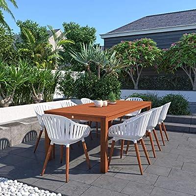Brampton Venice 9-Piece Outdoor Rectangular Dining Table Set | Dark Teak Finish | Ideal for Patio and Indoors