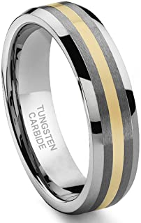Hollywood Pro 6MM Tungsten Carbide 14K Gold Inlay Wedding Band Ring Size 4-13