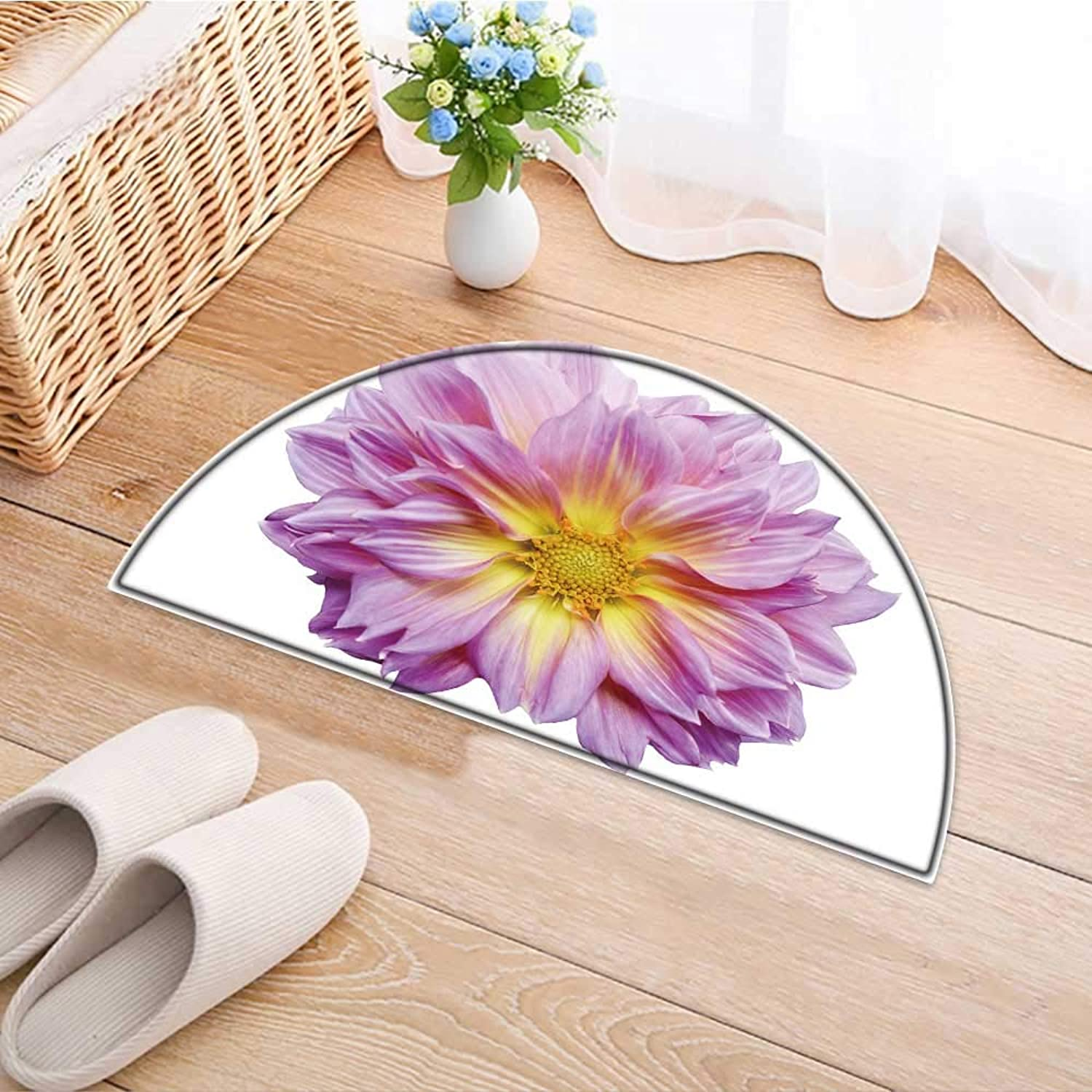 Semicircle Area Rug Carpet Pink Dahlia Flower on White Background Door mat Indoors Bathroom Mats Non Slip W47 x H32 INCH