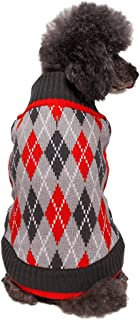 Blueberry Pet Chic Argyle All Over Dog Jumper in Charcoal and Scarlet Red, Back Length 41cm