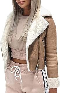 Womens Pocket Motorcycle Coat Oblique Zipper Faux Shearling Velvet Notched Collar Coats