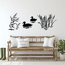 Twee Mallard Eenden Muursticker Lake House Decor Riet Jacht Kwekerij Decor Vogels Vinyl Sticker Slaapkamer Natuur Decorati...