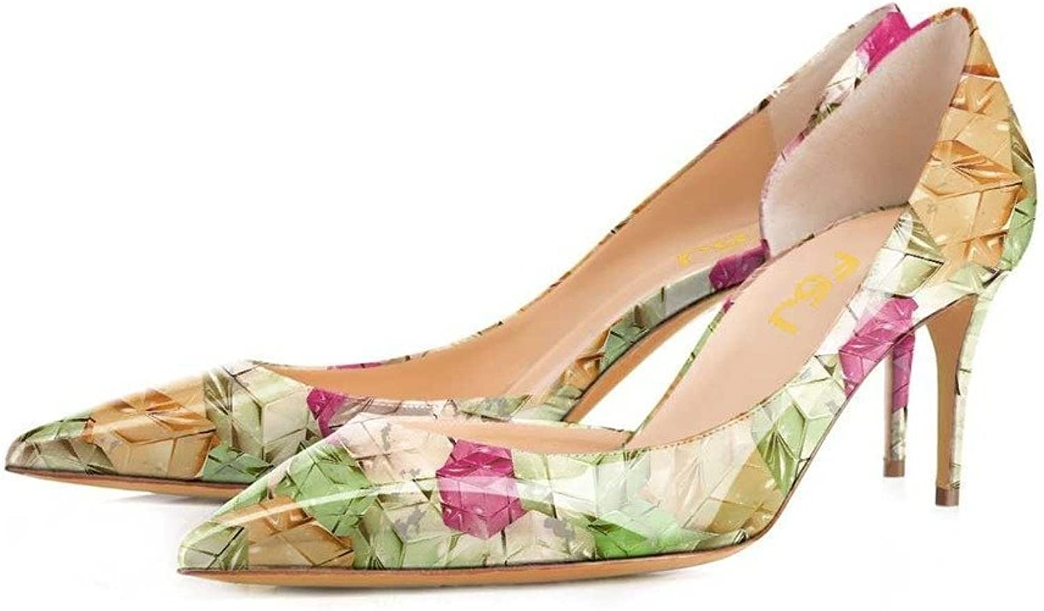 FSJ Fashion D'Orsay Pumps Multicolord Mid Heels Party Dress shoes for Women 8 cm Size 4-15 US