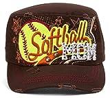 HLC TopHeadwear Softball mamá Envejecido Ajustable Cadet Cap