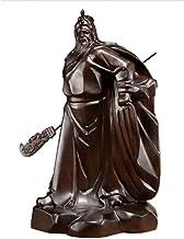Feng Shui Decor Guan Yun Chang Statue Black Sandalwood Carving Guan Gong Statue Pendulum Solid Wooden Martial Arts God Luc...
